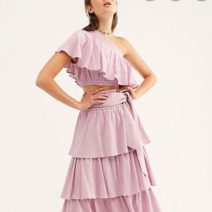 Free People GoForThe Drama Top One Shoulder S Rose